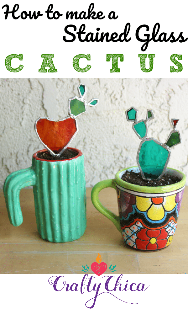 How to make a stained glass cactus, by CraftyChica.com.