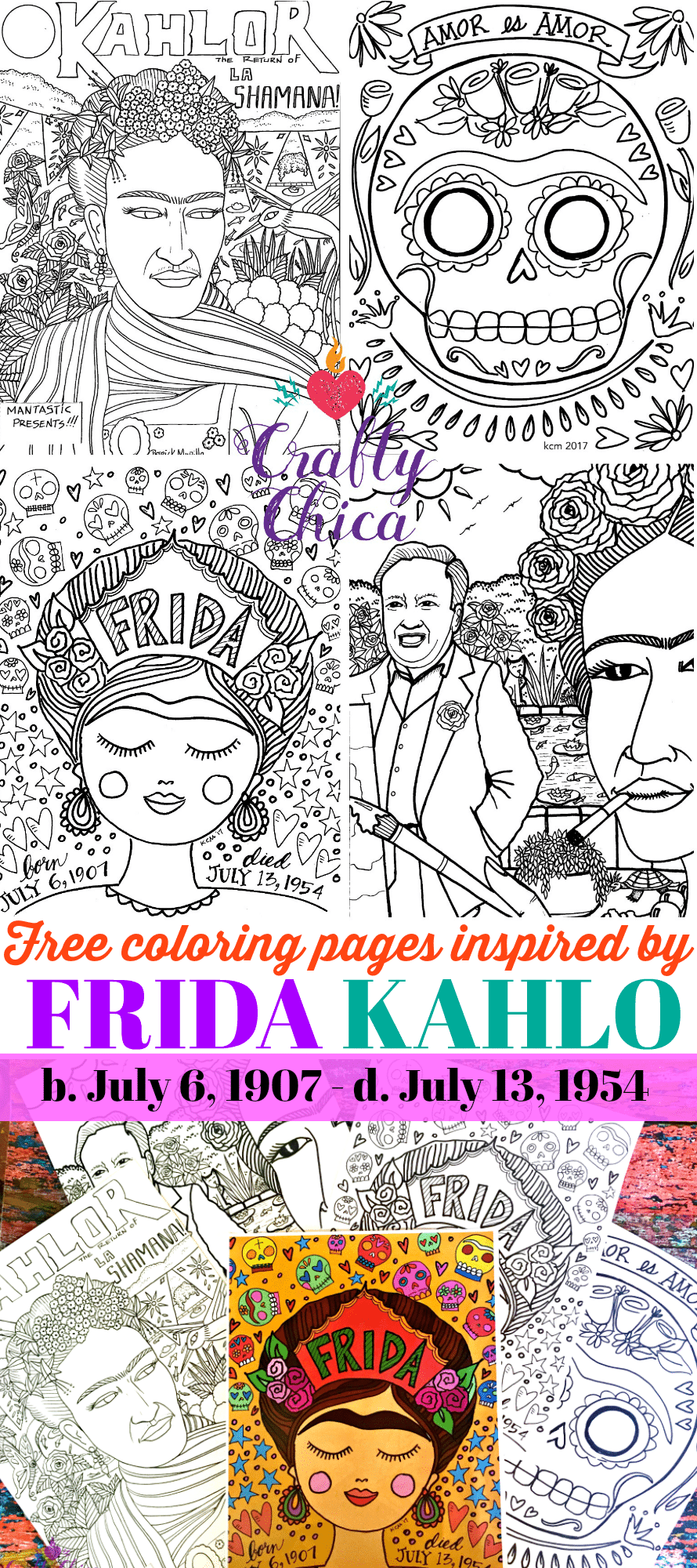 Free Frida Kahlo coloring pages, by Crafty Chica.