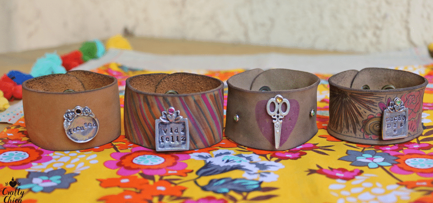 Torched leather cuffs