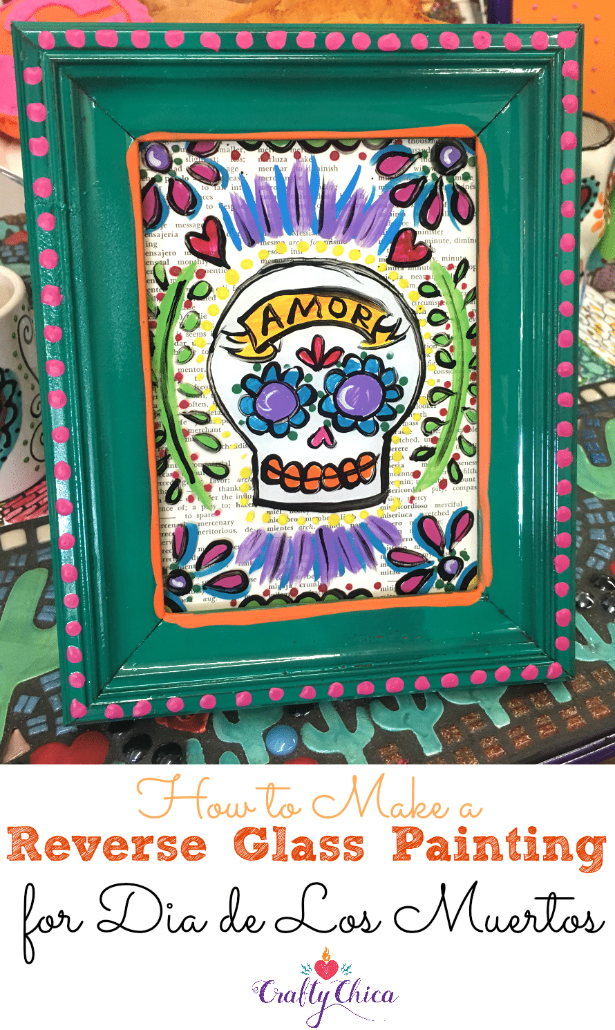 reverse glass painting of a sugar skull