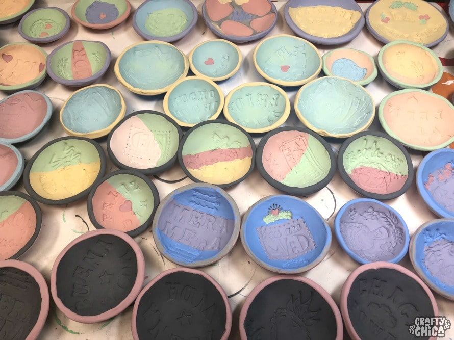 stamped clay bowls by crafty chica